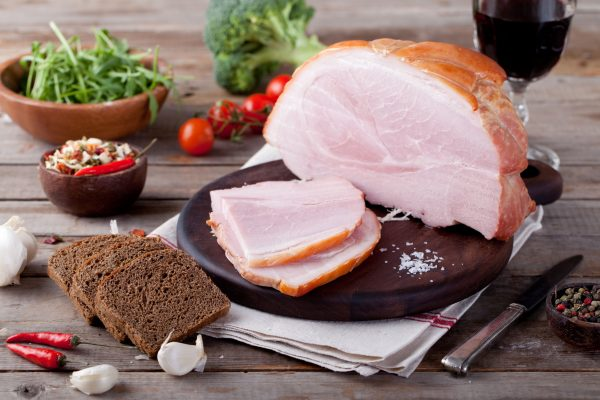 Pork ham with fresh salad and vegetables.